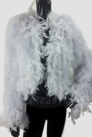 Maribou Feathers Silver Gray Cropped Jacket
