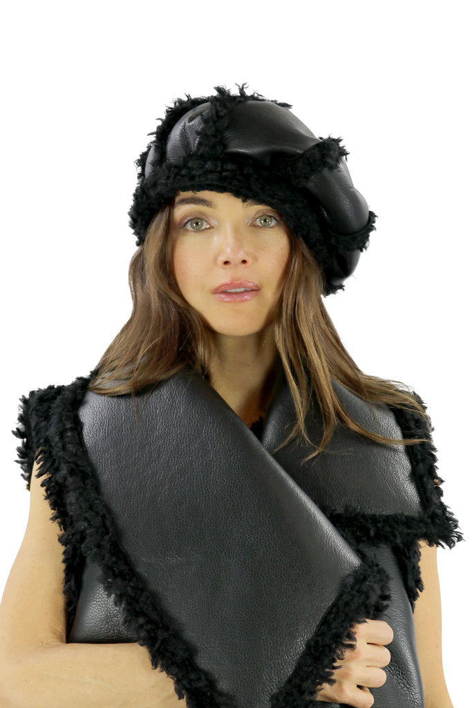 Italian Organic-Leather & Boucle Fur Beret