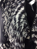 Black Silk top w/Black & White feathers around neck and bottom sleeve