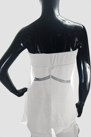 White Silk Jersey Top and Silver Chain - Caroline Hallak