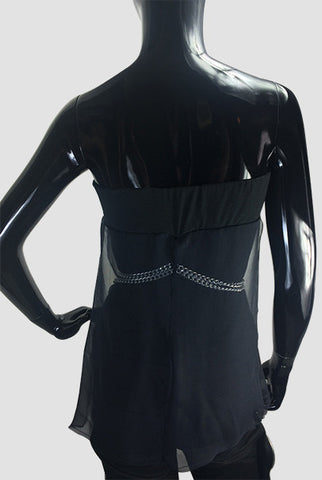 Black Silk Jersey Top and Silver Chain - CarolineHallak