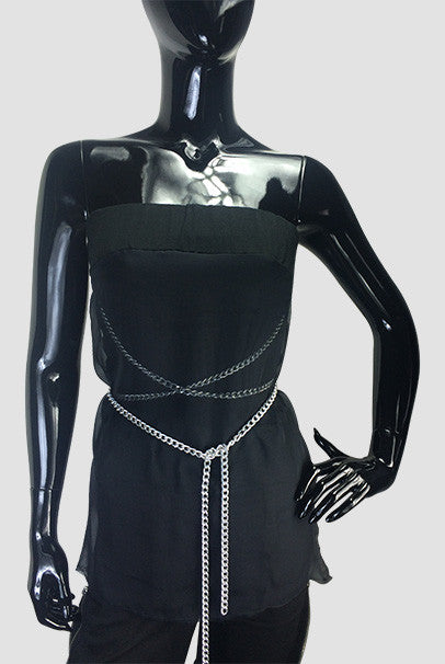 Silk Jersey Top and Silver Chain - FashionHomeGift