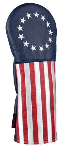 """Betsy Ross Flag"" Patriotic USA Premium Leather Headcovers (IN STOCK)"