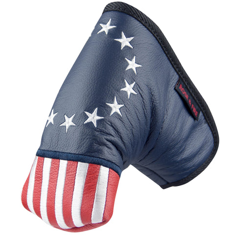 """Betsy Ross Flag"" Patriotic USA Premium Genuine Leather Standard Putter Cover(PRE ORDER)"