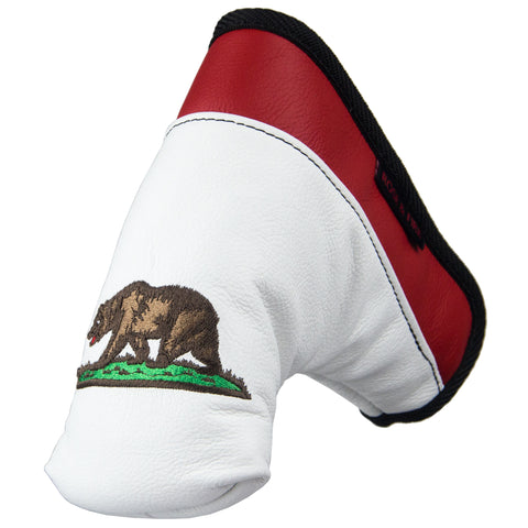 "California ""Bear Flag"" Premium USA Leather Putter Cover"