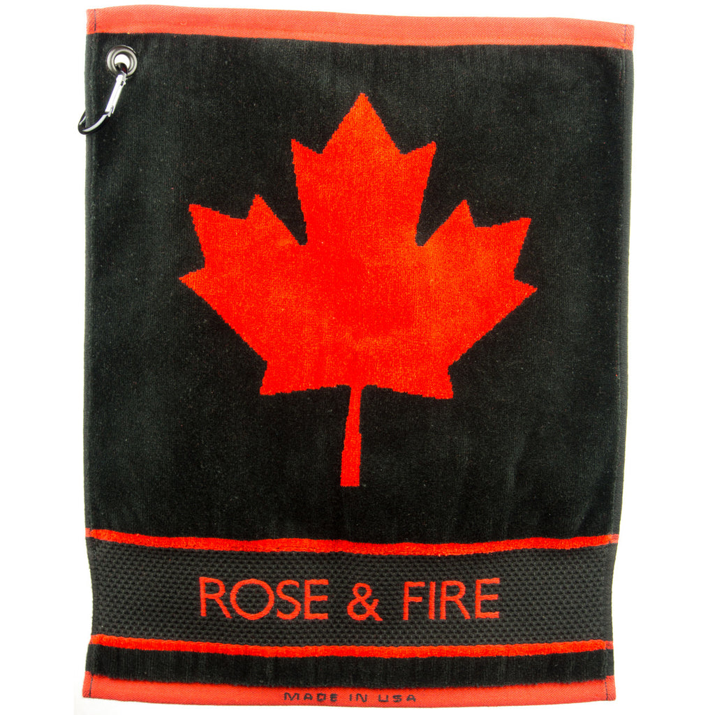Canada Maple Leaf Golf Towel in Black and Red