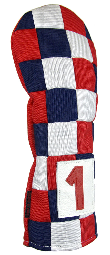 """Checkered"" USA Red, White and Blue Cordura Nylon Canvas Headcovers ( LIMITED PRE-ORDER)"