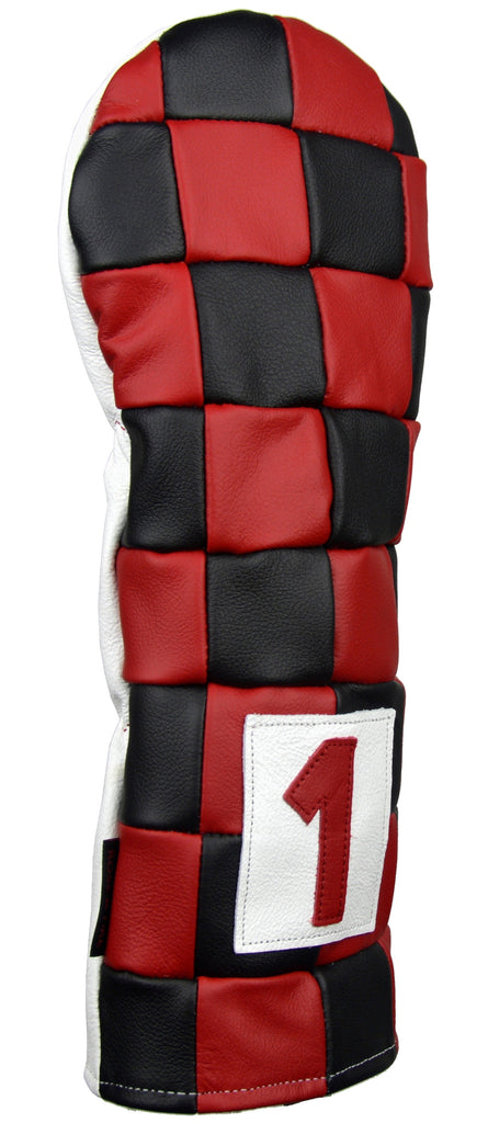 """Checkered"" Premium USA Leather Red and Black Headcovers (PRE-ORDER)"