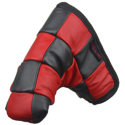 """Checkered"" Premium USA Leather Red and Black Standard Putter Cover"