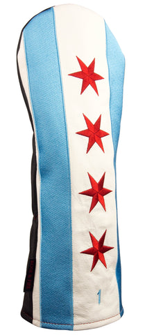 """The Windy City"" Chicago Flag Premium USA Leather Headcovers (PRE ORDER)"