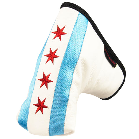 """The Windy City"" Chicago Flag Premium USA Leather Standard Putter Cover (PRE-ORDER)"