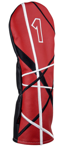 """Crazy Stripes"" Premium USA Leather Red, Black and White Headcovers (PRE ORDER)"