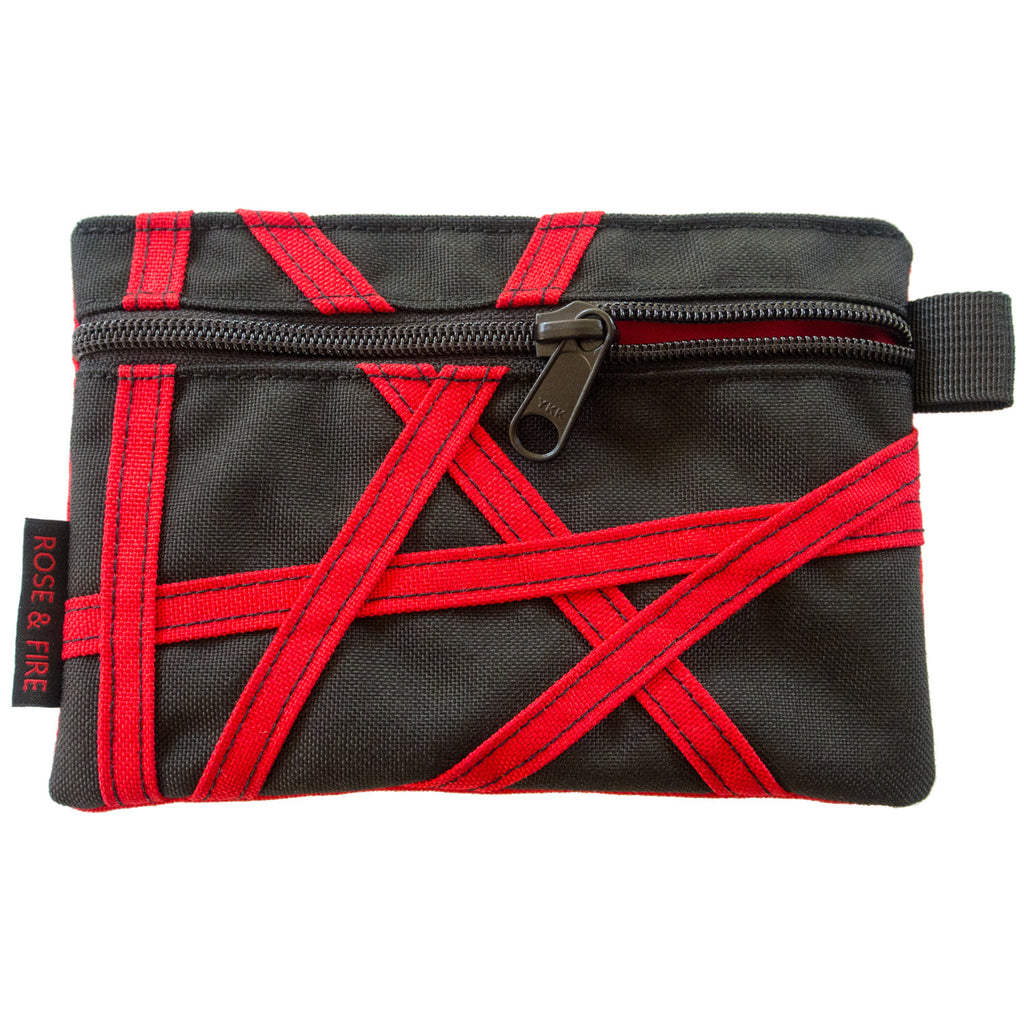 "Black with Red ""Crazy Stripes"" Zippered Valuables Pouch"