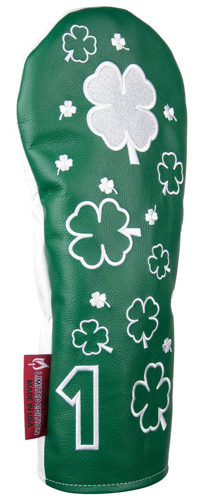 """Reverse Colors Dancing Clovers"" LIMITED EDITION Premium USA Leather Headcovers (PRE-ORDER)"