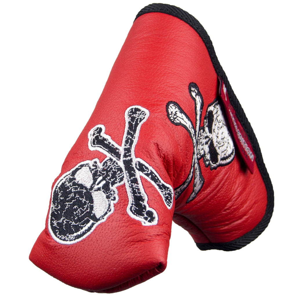 "Ltd. ""Dancing Skulls"" on Red Premium USA Leather Standard Putter Cover (LIMITED AVAILABILITY PRE-ORDER)"