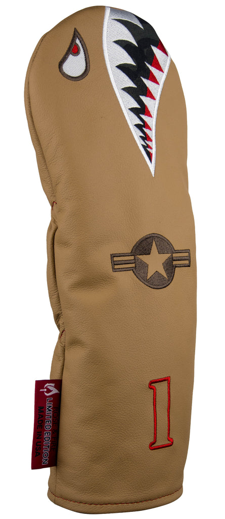 """Desert Hawk"" Bomber/Warhawk LIMITED EDITION Premium USA Leather Headcovers (PRE-ORDER)"