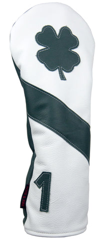 """Lucky Clover"" Green and White Premium USA Leather Headcovers"