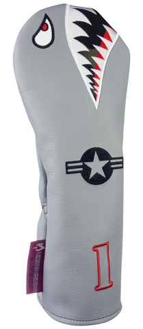 """Bomber/Warhawk"" LIMITED EDITION Gray Premium USA Leather Headcovers (PRE-ORDER)"