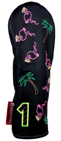 """Neon Lights Flamingo"" Premium USA Leather Headcovers (LIMITED EDITION PRE-ORDER)"