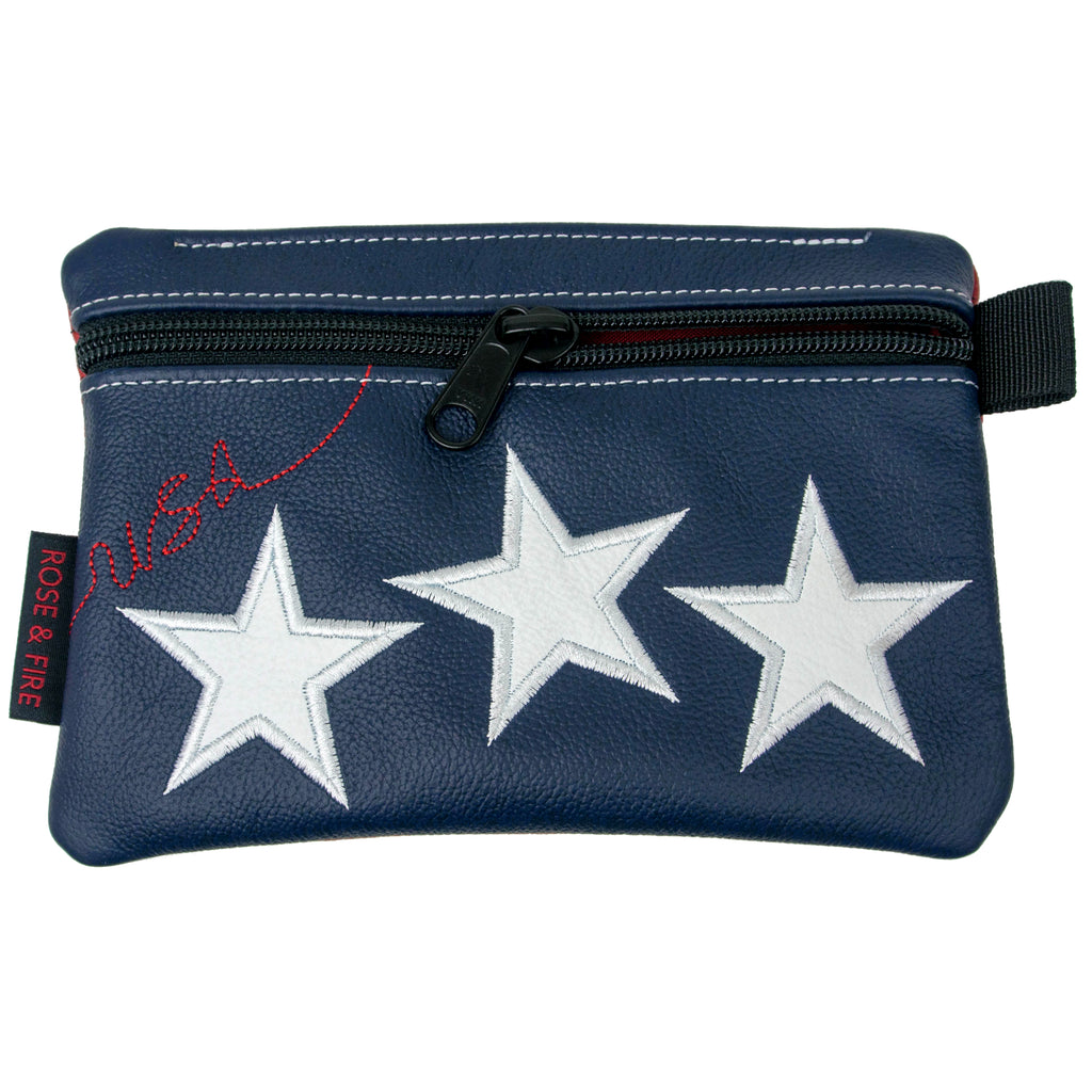 """Old Glory"" Premium Leather Zippered Valuables Pouch (PRE ORDER)"