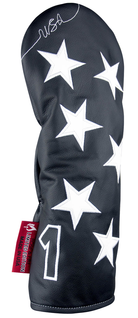"""Old Glory"" Black and White Premium Genuine Leather Headcovers (LIMITED EDITION PRE ORDER)"