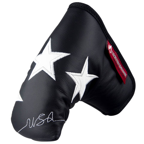 """Old Glory"" Black and White Premium Genuine Leather Standard Putter Cover (LIMITED EDITION PRE ORDER)"