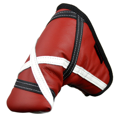 """Crazy Stripes"" Premium USA Leather Red, Black and White Standard Putter Cover (PRE-ORDER)"