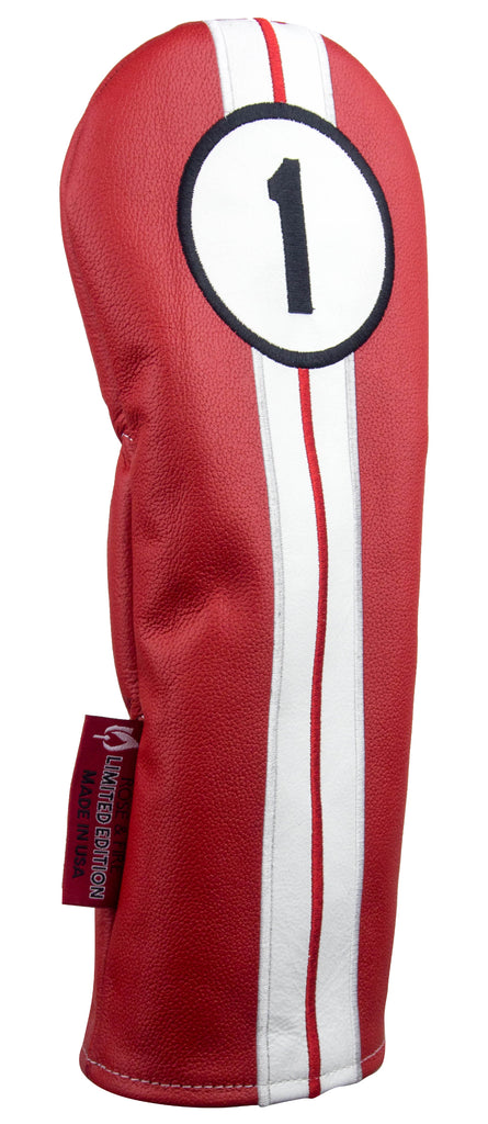 "Limited Edition ""Racing Stripes"" Premium Red USA Leather Headcovers (PRE ORDER)"