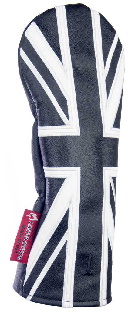 """Black Union Jack"" UK flag Premium Leather Headcovers (LIMITED EDITION PRE-ORDER)"