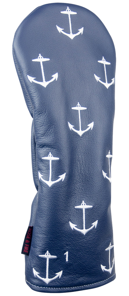 """Navy Anchors Aweigh"" Premium USA Leather Headcovers (PRE ORDER)"