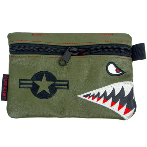 """Bomber/Warhawk"" Premium Leather Zippered Valuables Pouch (PRE ORDER)"