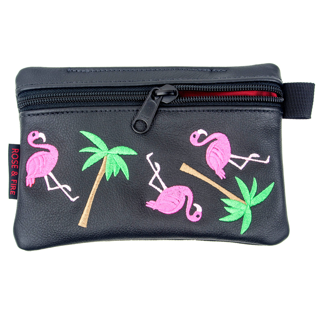 """Flamingo"" Premium Leather Zippered Valuables Pouch(PRE ORDER)"