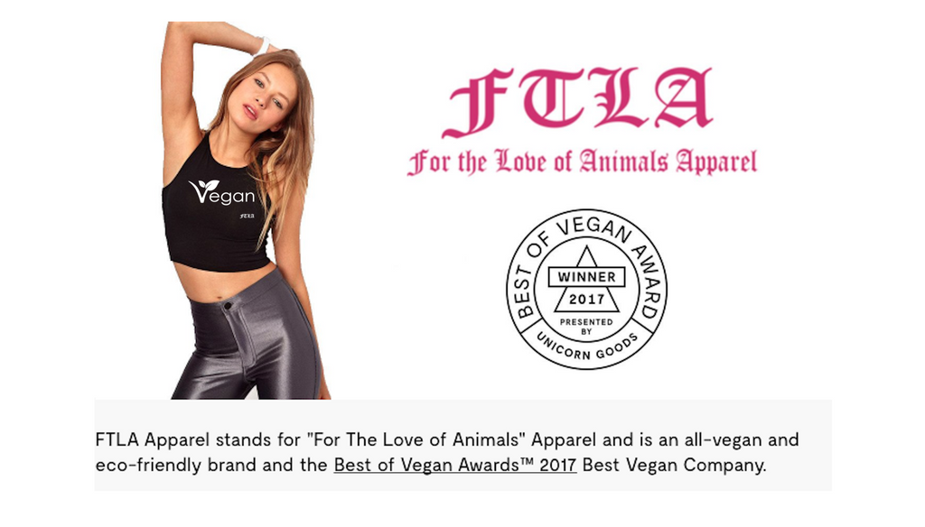 FTLA Apparel WINS BEST VEGAN COMPANY in The Best of Vegan Awards™ 2017