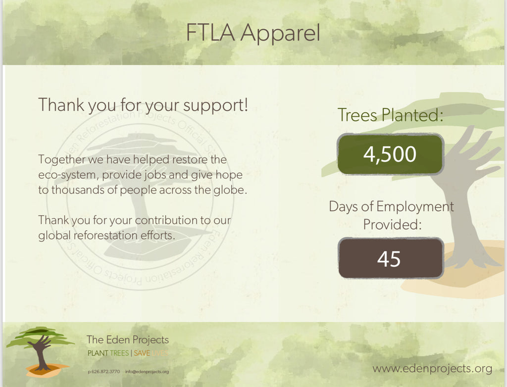 FTLA Apparel Reforestation Update - January 2018