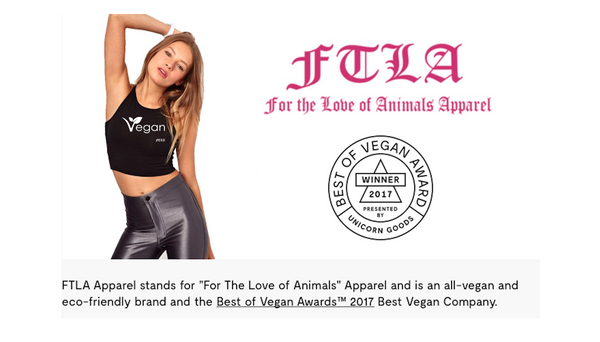 FTLA Apparel Won Best Vegan Company in the Best of Vegan Awards™ 2017