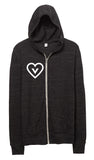 FTLA Apparel ~ For The Love of Animals Apparel:  Unisex Sweatshirts - Vegan Heart Unisex Eco Jersey Zip up Hoodie Sweatshirt
