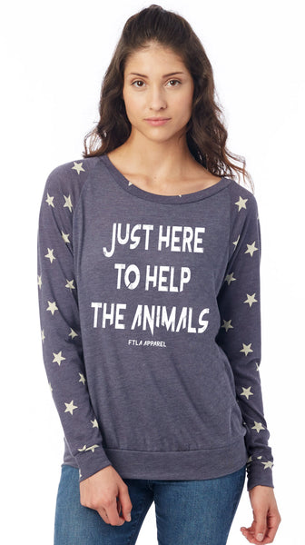 FTLA Apparel ~ For The Love of Animals Apparel:  Off The Shoulder Pullover - Stars Eco Navy Eco-Jersey Slouchy Pullover - Just Here To Help The Animals