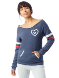 FTLA Apparel ~ For The Love of Animals Apparel:  Off The Shoulder Sweatshirt - Vegan Heart Eco Navy Stripes Eco Fleece Off the Shoulder Sweatshirt