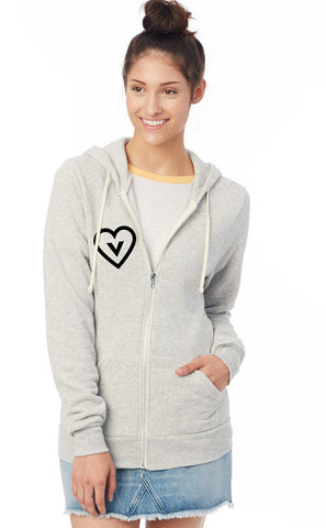 FTLA Apparel ~ For The Love of Animals Apparel:  Unisex Sweatshirts - Vegan Heart Unisex Eco Fleece Zip up Hoodie Sweatshirt
