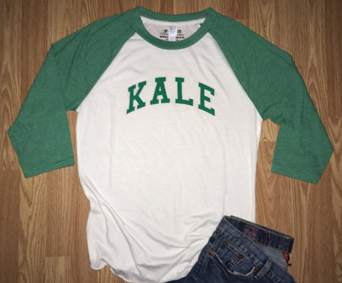 FTLA Apparel ~ For The Love of Animals Apparel:  Unisex Baseball tee - KALE Unisex Eco-Jersey Baseball Tee