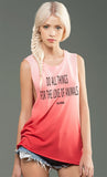Do All Things For The Love of Animals eco-HYBRID™ Micro Jersey Deep Side Cut Red Ombre Muscle Tank
