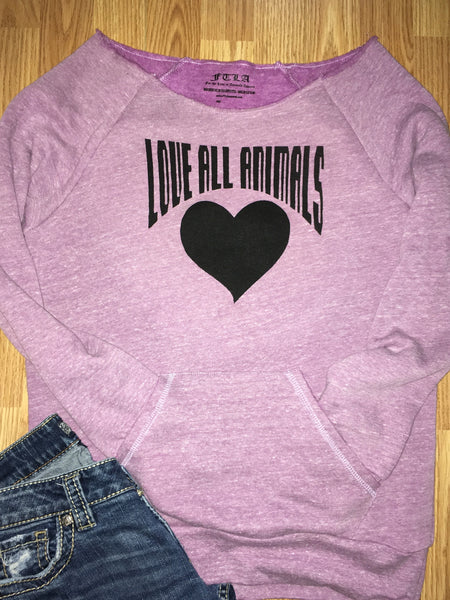 FTLA Apparel ~ For The Love of Animals Apparel:  Off The Shoulder Sweatshirt - Love All Animals Eco Fleece Tri-Purple Off the Shoulder Sweatshirt