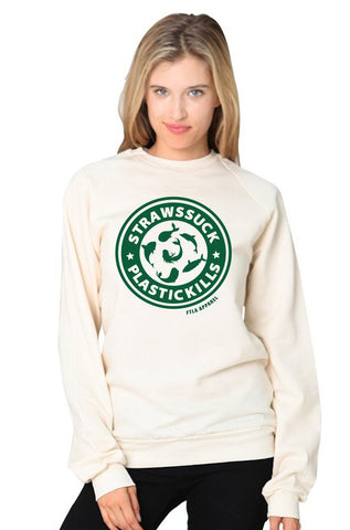 Straws Suck Plastic Kills Eco Natural Unisex Certified Organic Cotton Fleece Raglan Crew Neck Sweatshirt