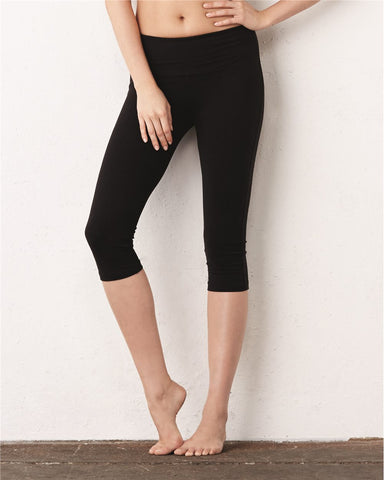 Women's Cotton Capri Leggings - Black
