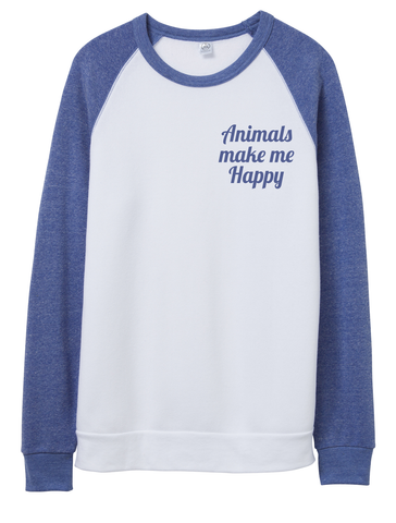 FTLA Apparel ~ For The Love of Animals Apparel:  Unisex Sweatshirts - Animals Make Me Happy Unisex Eco Fleece Crewneck Sweatshirt