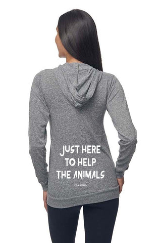 FTLA Apparel ~ For The Love of Animals Apparel:  Unisex Sweatshirts - Unisex Eco Tri Grey Organic Cotton & RPET Lightweight Zip Up Hoodie - Just Here To Help The Animals - XS-2XL