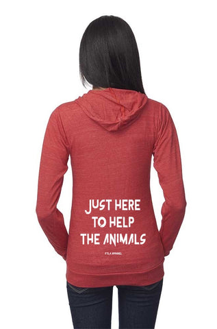 FTLA Apparel ~ For The Love of Animals Apparel:  Unisex Sweatshirts - Unisex Eco Tri Red Organic Cotton & RPET Lightweight Zip Up Hoodie - Just Here To Help The Animals - XS-2XL
