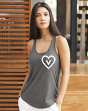 FTLA Apparel ~ For The Love of Animals Apparel:  Tank Top - Asphalt Satin Racerback Jersey Shirttail Tank Top Vegan Heart