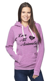 FTLA Apparel ~ For The Love of Animals Apparel:  Unisex Sweatshirts - Unisex Eco Purple Organic RPET Fleece Pullover Hoody - Love All Animals - XS-2XL
