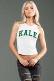 KALE White eco-HYBRID Jersey Fitted + Cropped Muscle Tank